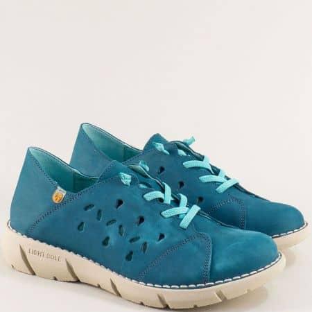 Сини дамски обувки с ластични връзки и перфорация 7065ns