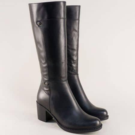 Дамски ботуши с цип от естествена кожа в черен цвят  708ch