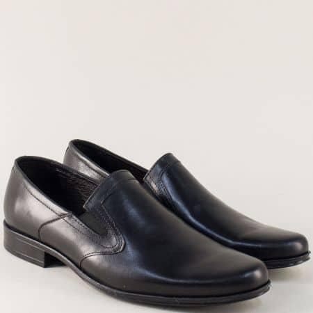 Кожени мъжки обувки с два ластика в черен цвят 709ch