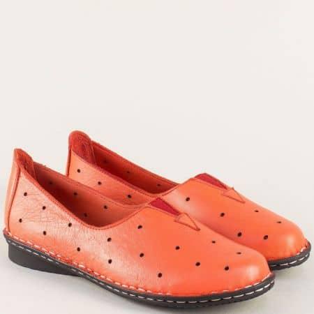 Червени дамски обувки на шито ходило с кожена стелка 710chv