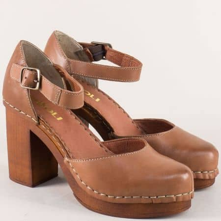 Кафяви дамски сандали със затворени пръсти и пета 7112020k