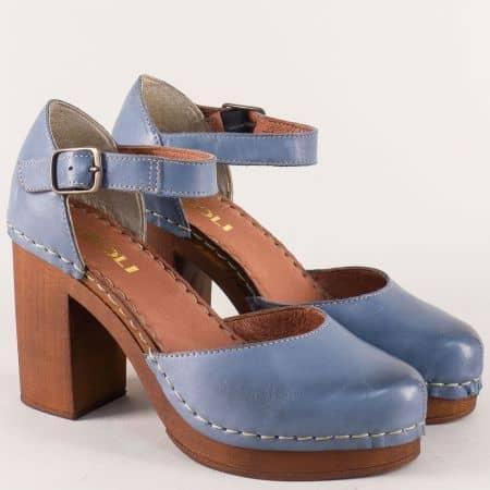 Сини дамски сандали с кожена стелка на висок ток 7112020s