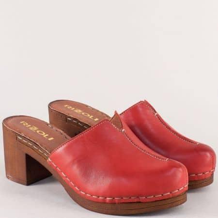 Италиански дамски чехли на висок ток в червен цвят 7122030chv