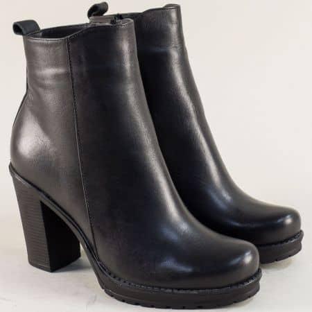 Черни дамски боти на висок ток от естествена кожа 712ch