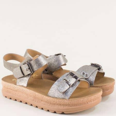 Бронзови дамски сандали на платформа с две катарами 7136brz