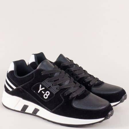 Спортни мъжки обувки с връзки в черен цвят a8137ch