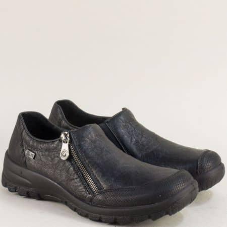 Дамски обувки с ластик и цип в черен цвят- Rieker 7152ch