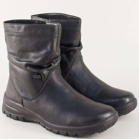 Дамски боти от естествена кожа в черен цвят- Rieker 7153ch
