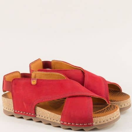 Червени дамски сандали на ортопедично ходило от кожа 7173nchv