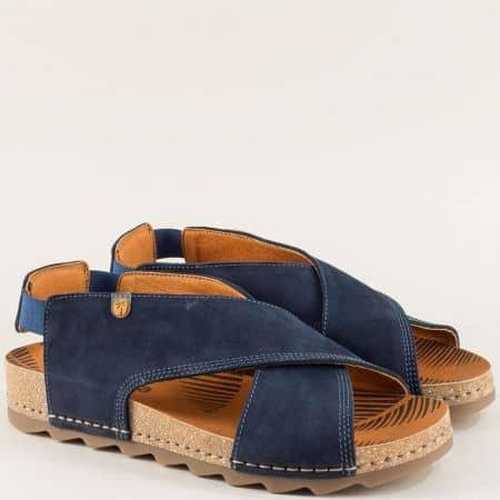 Сини дамски сандали от естествен набук и каучук- Jungla 7173ns