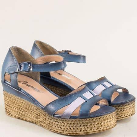 Сини дамски сандали със затворена пета на платформа 72014808s