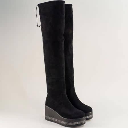 Черни дамски ботуши над коляното на платформа- ELIZA 721719vch