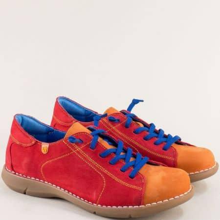 Дамски обувки в оранж и червено с ластични връзки 7221nchvo
