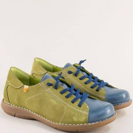 Дамски обувки в зелено и синьо с ластични връзки 7221nzs