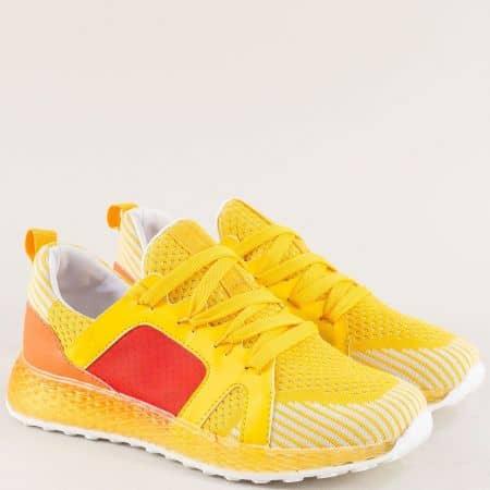 Жълти дамски маратонки с връзки на удобно ходило 7228j
