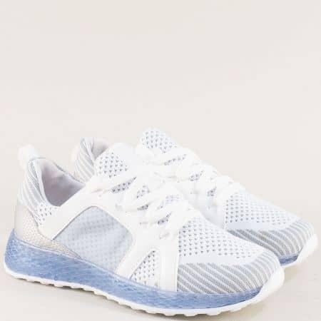 Спортни дамски обувки с връзки в бяло и синьо 7228s