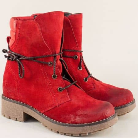 Червени дамски боти на нисък ток от естествен велур 724511049vchv