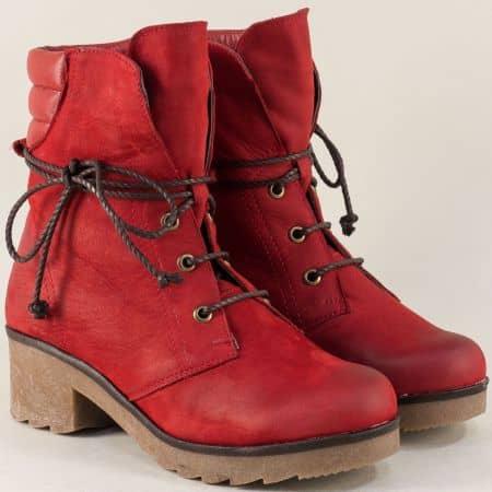 Червени дамски боти от естествен набук и каучук 724631049nchv