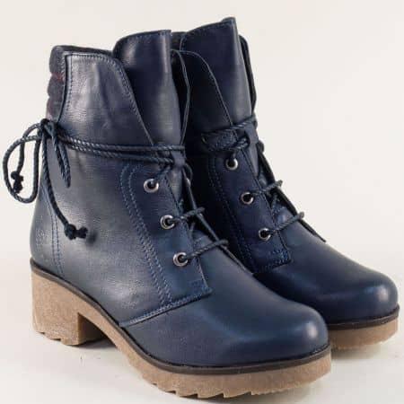 Сини дамски боти от естествена кожа с каучук 724631049s