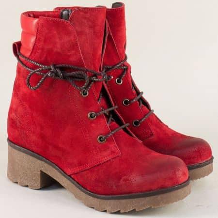 Червени дамски боти с топъл хастар на среден ток 724631049vchv