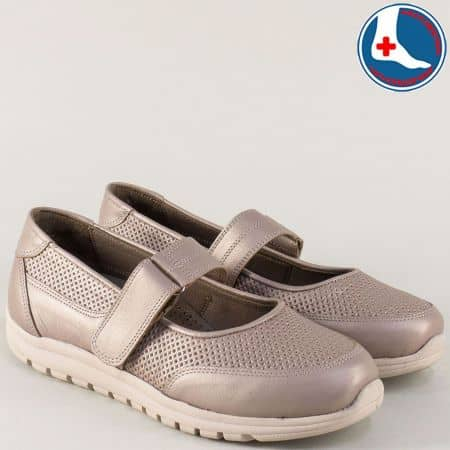 Бежови дамски обувки от естествена кожа с ортопедична стелка 7253bj
