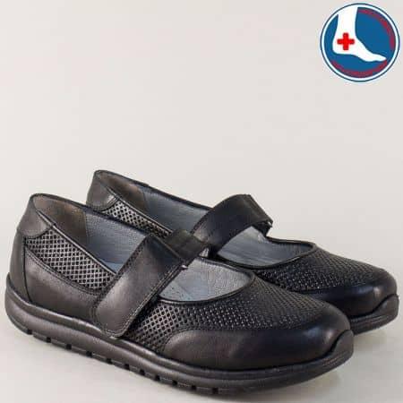 Ортопедични дамски обувки от черна естествена кожа 7253ch