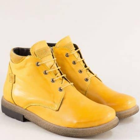 Жълти дамски кларкове от естествена кожа 725431101j