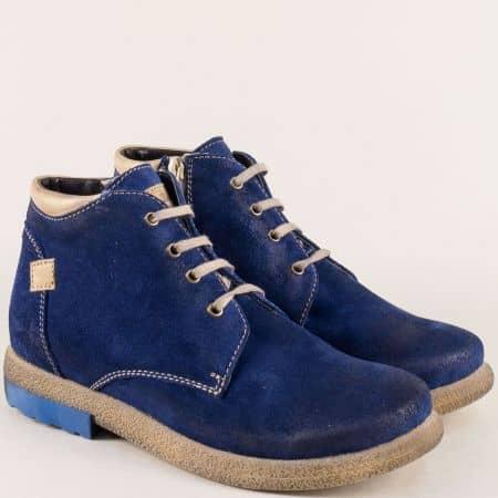 Сини дамски боти от естествен велур на каучуково ходило 725431101vs