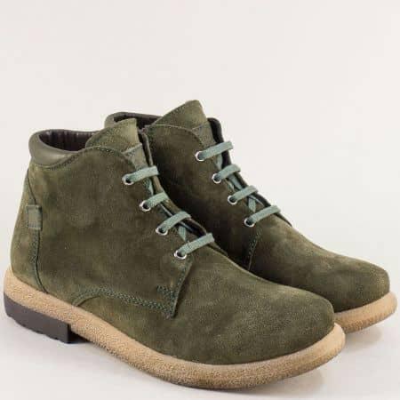 Зелени дамски боти от естествен велур и каучук- NOTA BENE 725431101vz1