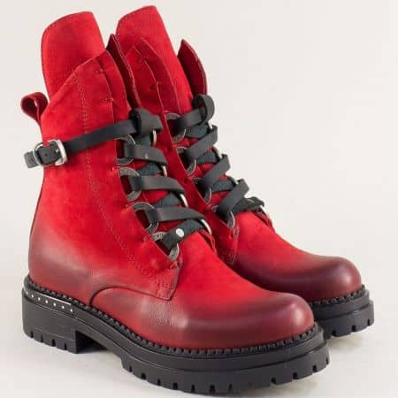 Червени дамски боти от естествен материал на комфортно ходило 7267nchv