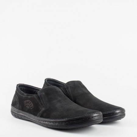 Ежедневни мъжки обувки с еластично и комфортно ходило, изработени от черен естествен набук 727nch