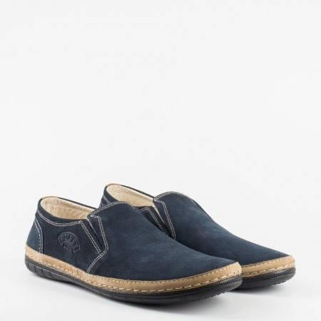 Ежедневни мъжки обувки с еластично и комфортно ходило, изработени от тъмно син естествен набук 727ns