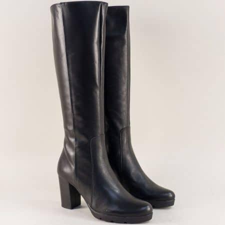 Дамски ботуши на висок ток от естествена кожа в черно 72831ch