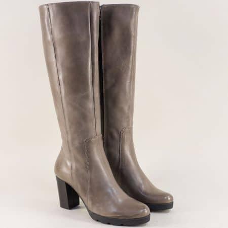 Сиви дамски ботуши на висок ток от естествена кожа 72831sv