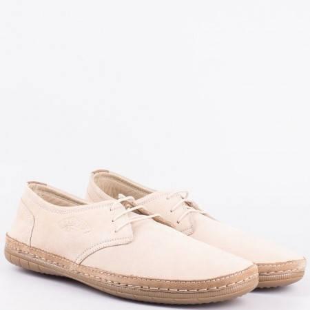 Бежови ежедневни обувки с връзки от естествен набук и кожа 728nbj