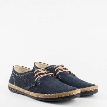 Меки и удобни мъжки обувки с връзки в тумно син цвят 728ns