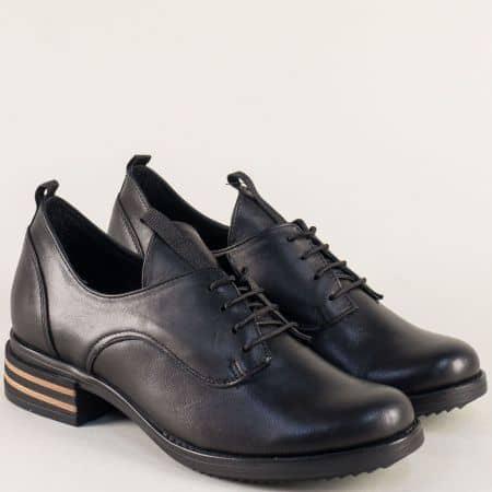 Дамски обувки на нисък ток от черна естествена кожа 73011100ch