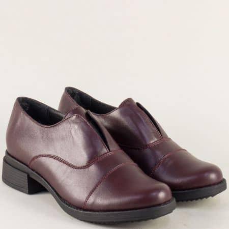 Кожени дамски обувки с ластик и нисък ток в цвят бордо 73011125bd
