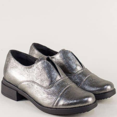 Бронзови дамски обувки на нисък ток от естествена кожа 73011125brz