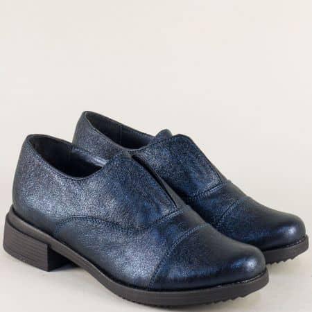 Сини дамски обувки от естествена кожа на нисък ток  73011125ss