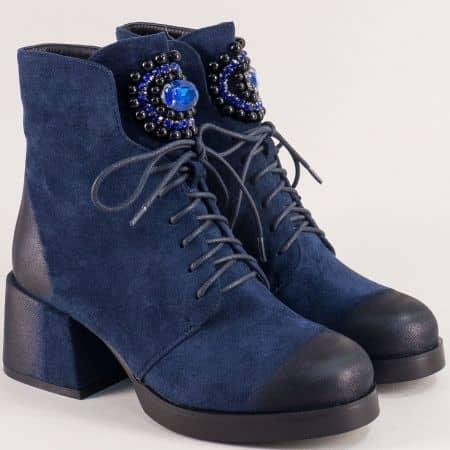 Сини дамски боти на среден ток с луксозна декорация 73032vs
