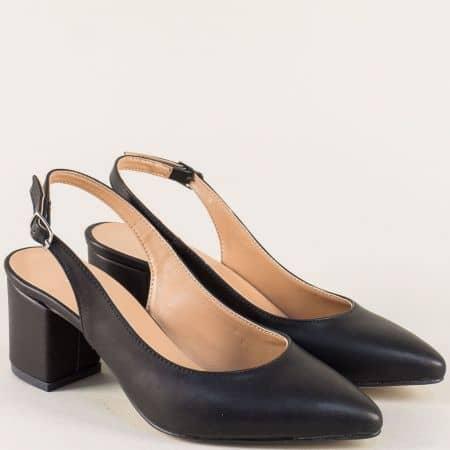 Черни дамски обувки с отворена пета на среден ток 7303ch