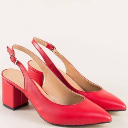 Дамски обувки с отворена пета в червен цвят на ток 7303chv