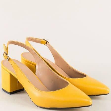 Жълти дамски обувки със заострен връх и отворена пета 7303j