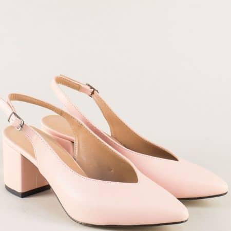 Розови дамски обувки с отворена пета и среден ток 7304rz