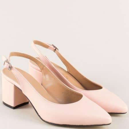Дамски обувки с отворена пета в розов цвят на ток 7303rz