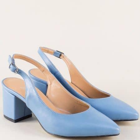 Сини дамски обувки с отворена пета на среден ток 7303s