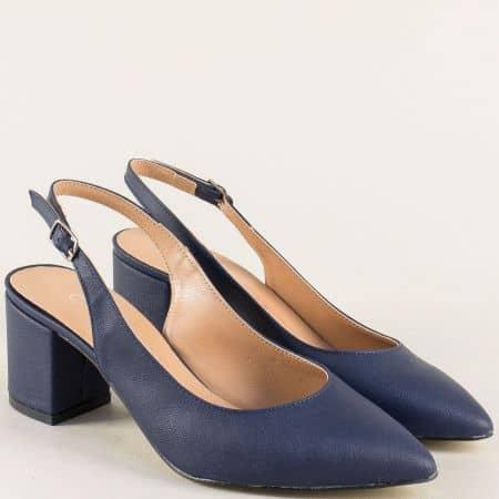 Дамски обувки с отворена пета в тъмно син цвят 7303ts