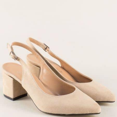 Бежови дамски обувки на ток 7303vbj