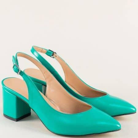 Тюркоазено зелени дамски обувки с отворена пета 7303z